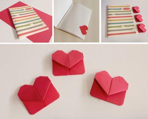 Marcap ginas en forma de coraz n con origami aprende los - Como hacer un corazon con fotos ...