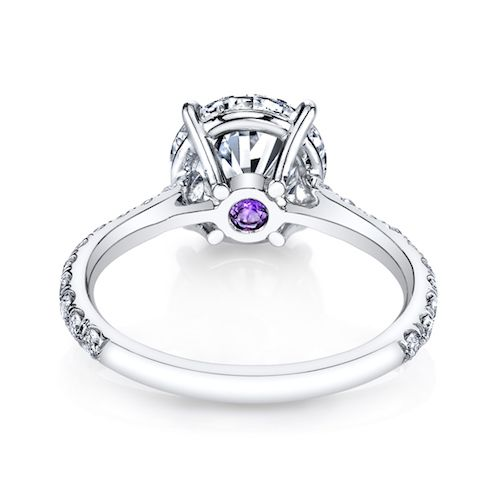 CATHERINE is a handcrafted Jean Dousset Diamonds engagement ring with one row of diamonds on the band - JeanDousset.com - shown with a Round cut diamond in Platinum and an Amethyst Signature Stone®. #rounddiamondring #dreamring  #roundcut #enagementring #engagementrings #diamond #dream #ring #unique #diamondring #weddingring #engagement