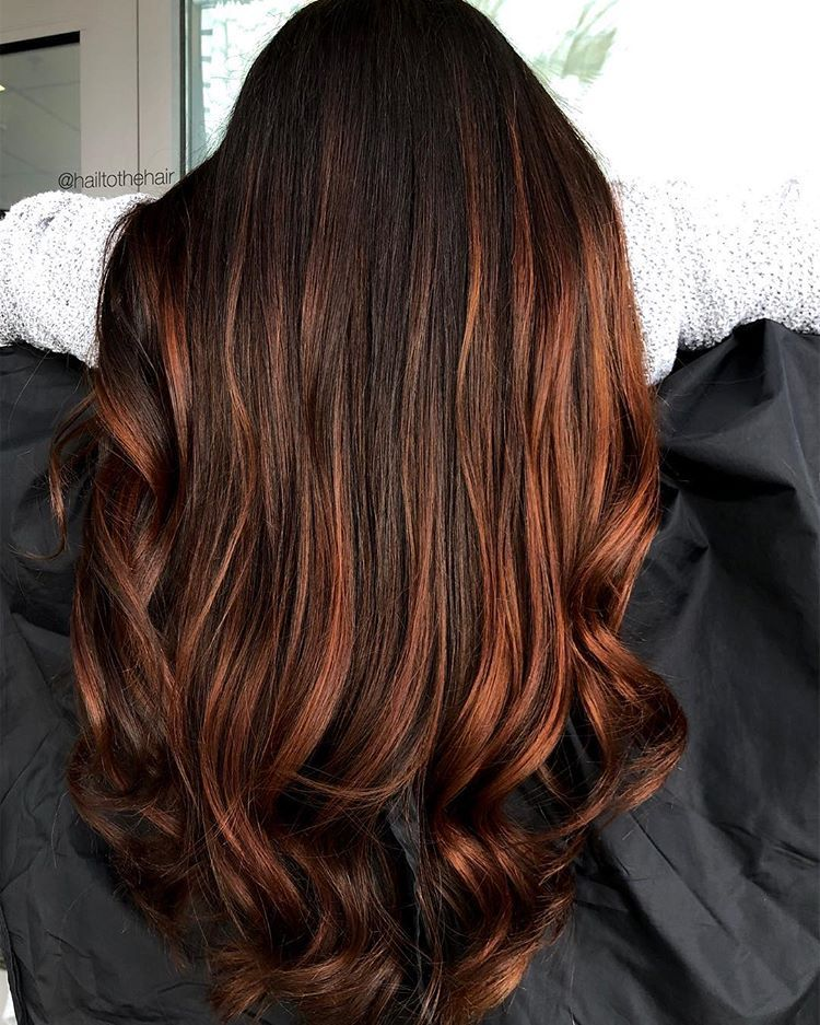 Copper Brown Balayage With Images Copper Brown Hair Brown