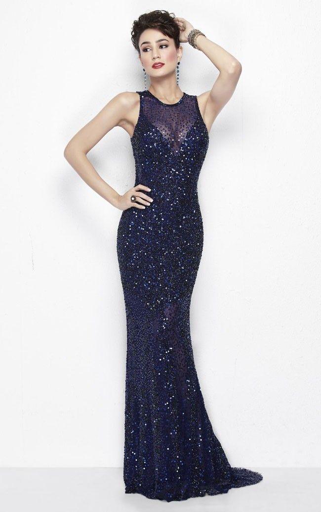 Jewel Floorr-length Sheath Sleeveless Sequins Dress