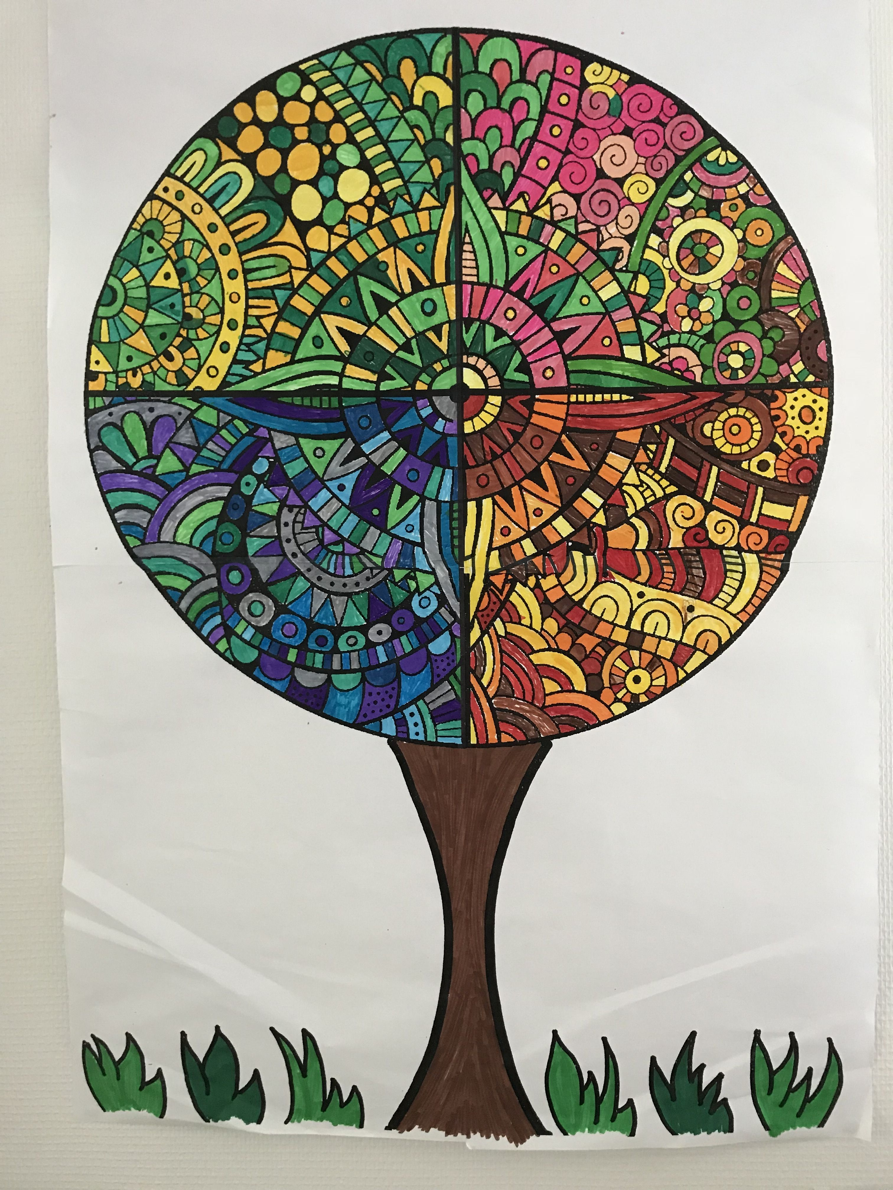 Travail collaboratif mandala agrandissement double a3 cp arts plastiques cycle 2 - Mandalas cycle 3 ...