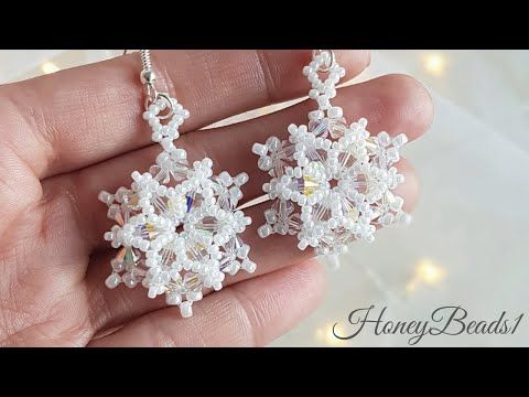 "Photo of Easy Beading Tutorial, ""Let it Snowflake' Earrings, Christmas Snowflake earrings, by HoneyBeads1"