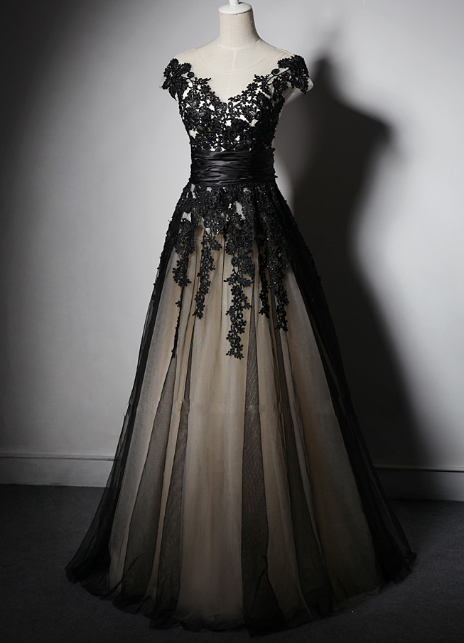 48a9801f66 Charming Handmade Black Party Gown with Lace Applique