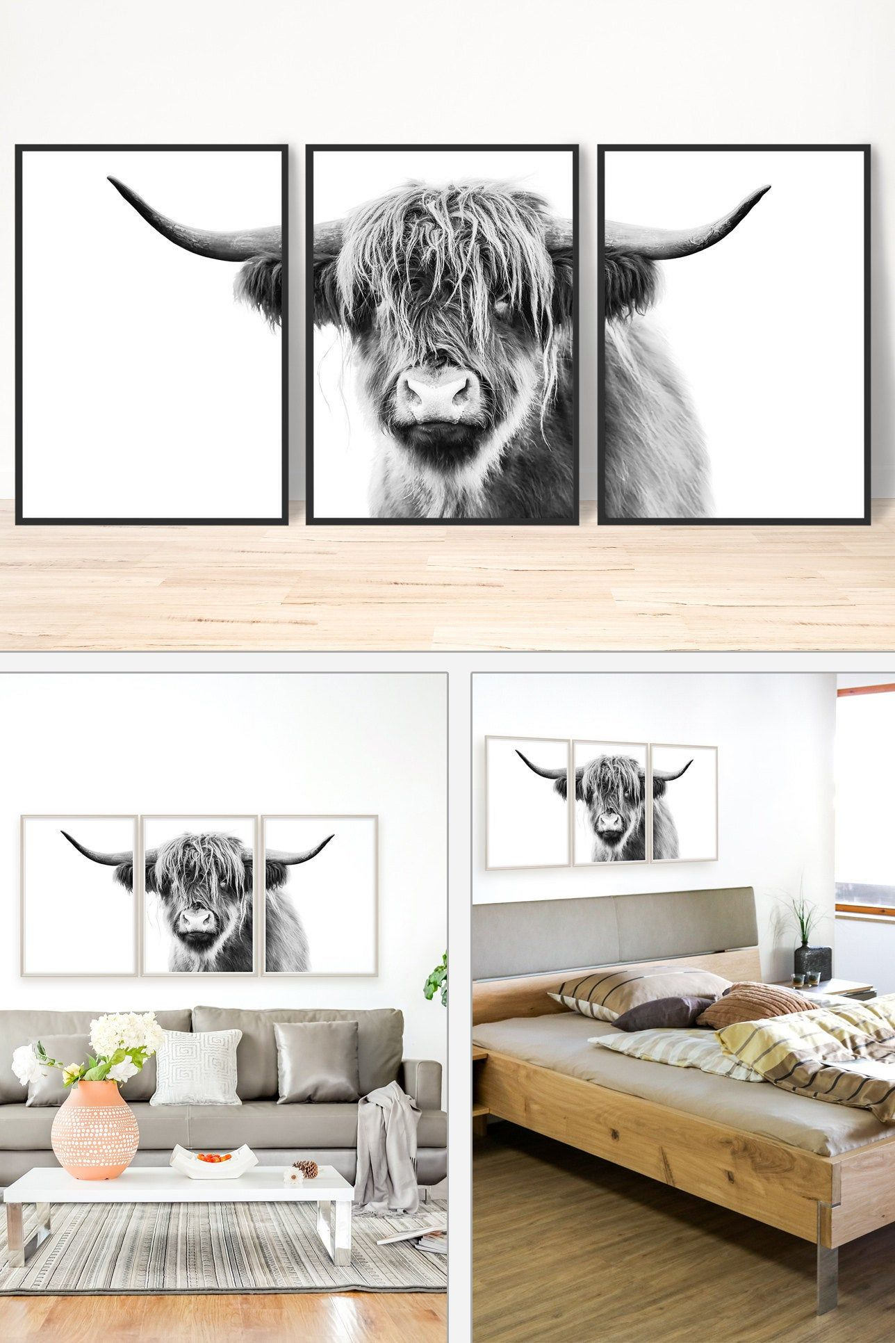 Large Highland Cow Print Black And White Cow Art Farm Animal Photography Prints Large Wall Art Boho Decor Modern Farmhouse Decor Wall Art Prints Living Room Cow Art Print Highland Cow