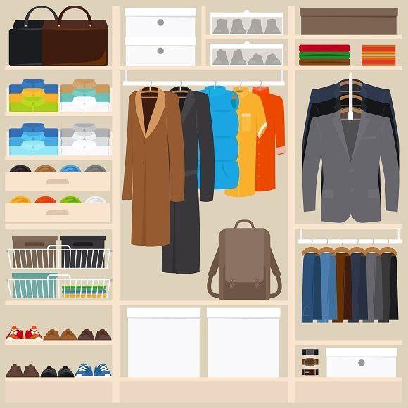 Clothes wardrobe vector illustration. 5.00 Wardrobe