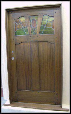 Entry door in Sipo Mahogany with custom \ Cloud Lift\  leaded glass & Entry door in Sipo Mahogany with custom \