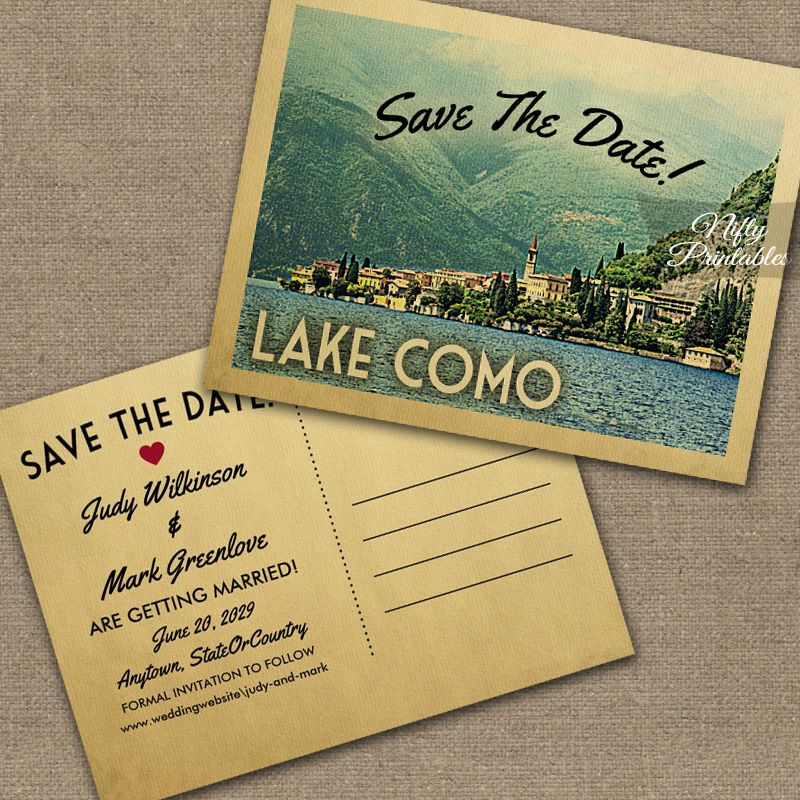 Lake Como Italy Save The Date PRINTED in 2019 | Vintage Travel