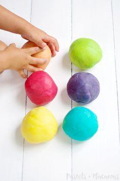 Easy Homemade Playdough Recipe by Pastels & Macarons.