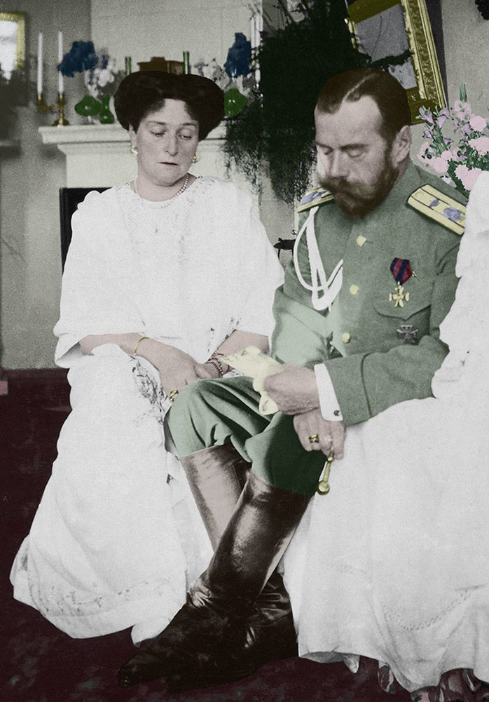 Nicholas Ii And Alexandra Reading A Letter Or Official
