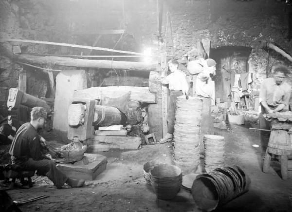 Ancient Blacksmith Workshop in Bienno that makes iron buckets with triphammer.