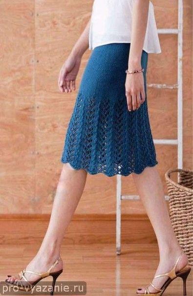 Вязаные простые юбки спицами