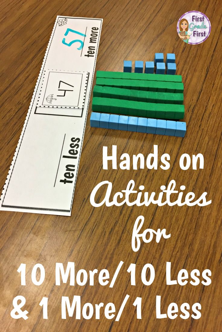 10 More, 10 Less, 1 More, and 1 Less Activities | Elementary ...