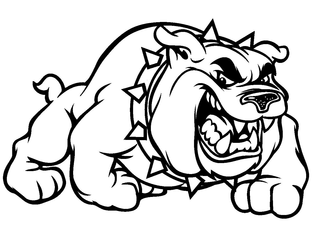 Mean Cartoon Bulldog With Collar PSD Graphic