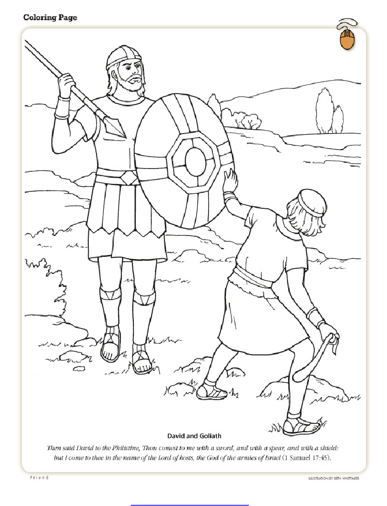 david and goliath fhe sunday school coloring pages