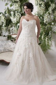 Lovely A Line Court Train Sweetheart Tulle Fabric Plus Size Wedding Dresses With Appliques Style