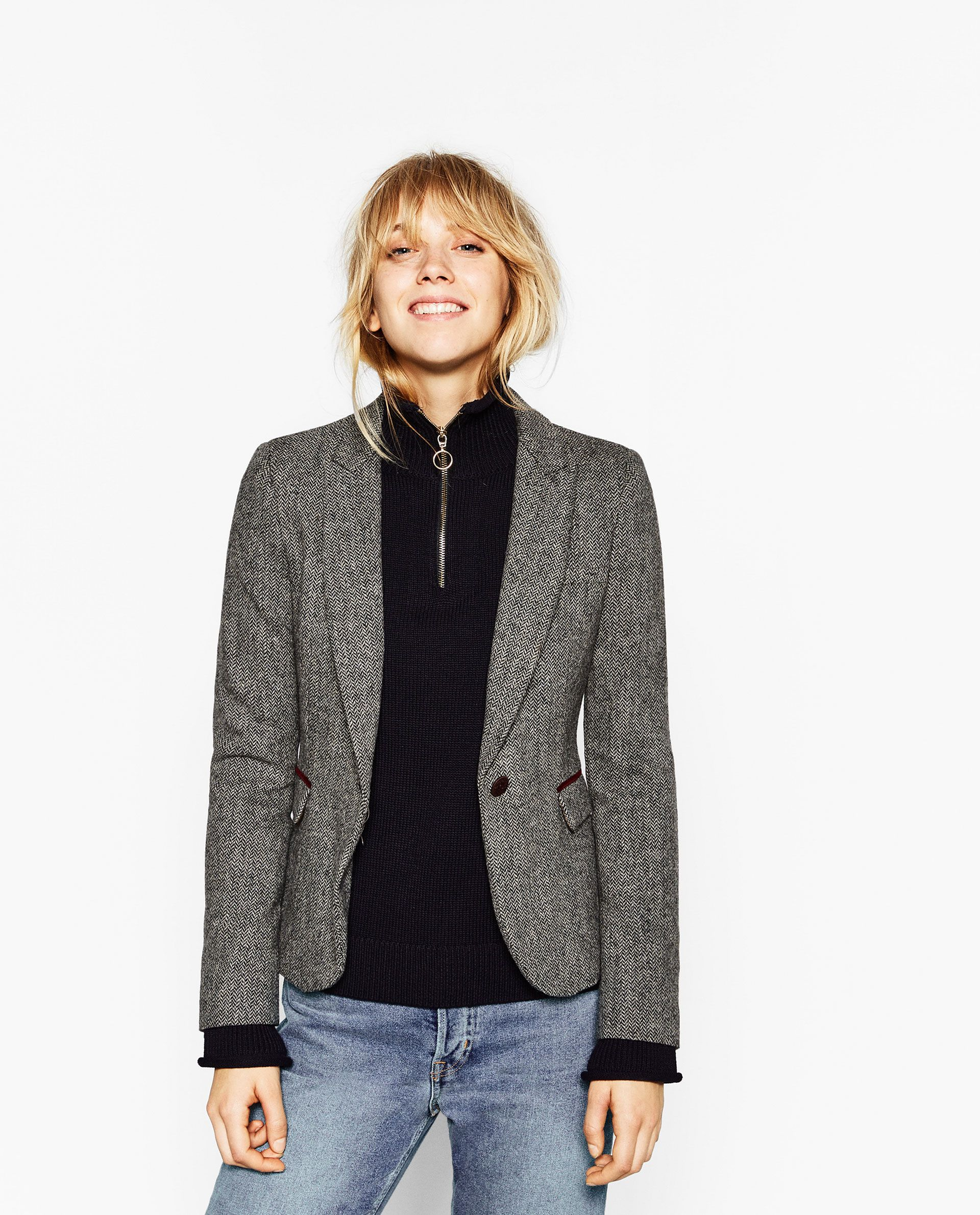 a030542372 ZARA - WOMAN - HERRINGBONE BLAZER WITH ELBOW PATCHES | Fashion ...