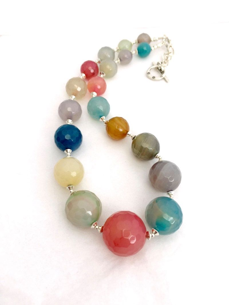 Multi Coloured Agate Gemstone Necklace, Pink, Blue, Green Beaded ...