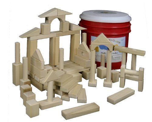 Superieur Back To Blocks My Building Bucket Wooden Block Set 80 Piece Wood Blocks For  Kids Perfect For Boys Girls 15 Shapes Includes Red Storage Bucket For Easy  Clean ...
