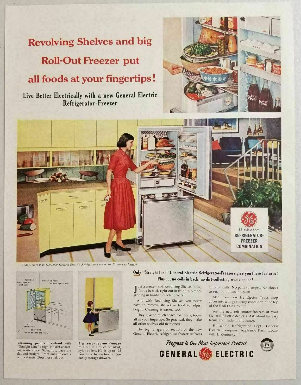 1958 Print Ad Ge General Electric Refrigerator Freezers Bottles Of
