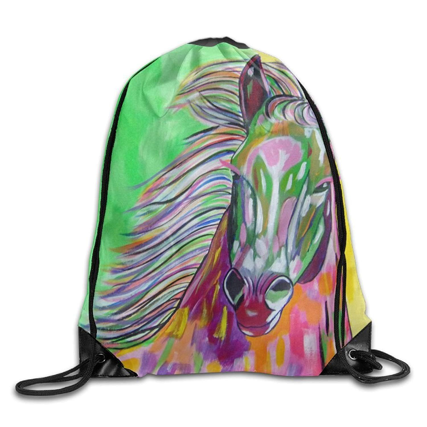 80aa19281df4 Gym Drawstring Bags Horse Oil Painting Draw Rope Shopping Travel ...