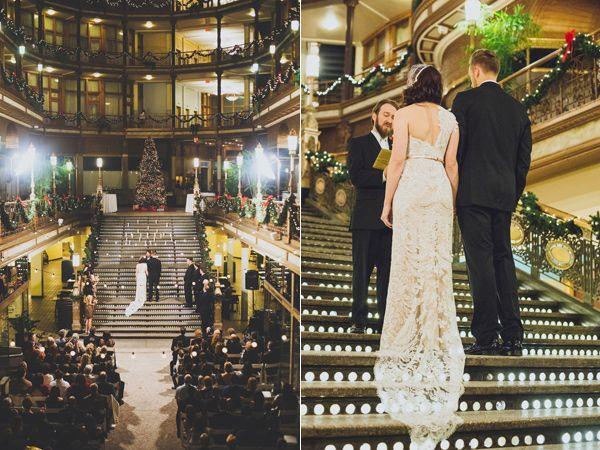 glam wedding ceremony - photo by Suzuran Photography http://ruffledblog.com/new-years-eve-cleveland-wedding