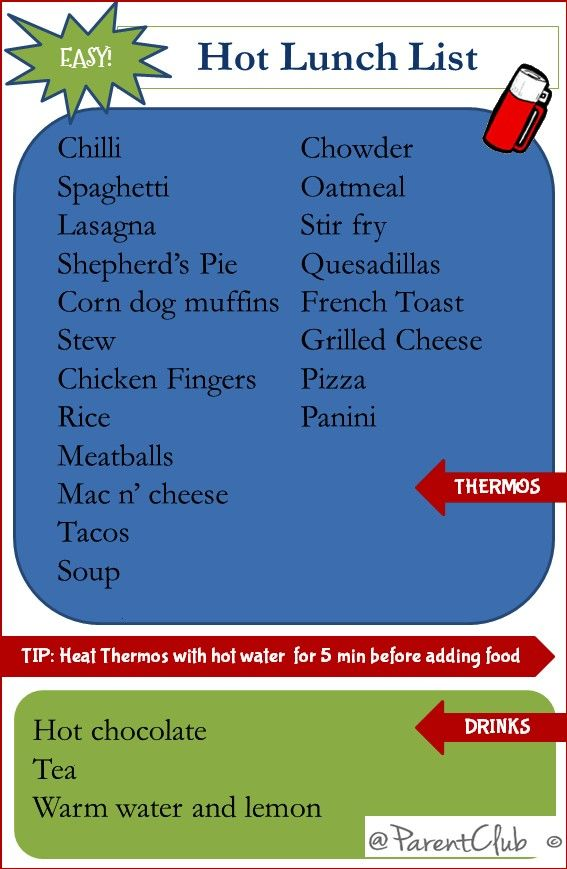 Hot Lunch List - great list for school lunches and work lunches in these cold winter months!Easy Ho