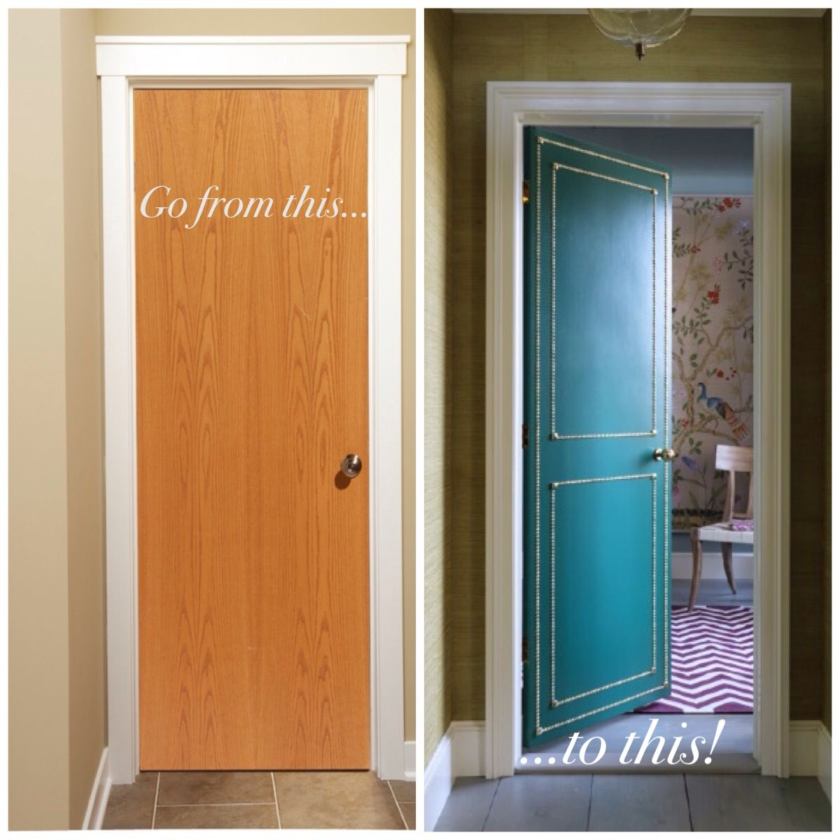 Lovely Ideas For Painting Interior Doors Part - 7: Do You Have Boring (ugly) Flat Interior Doors? Paint Them An Amazing Color  And Add Some Detail With Nailhead Trim And Decorative Tacks. Via AWID