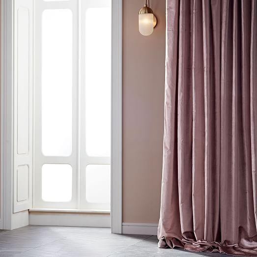 Cotton Luster Velvet Curtain - Dusty Blush In 2020