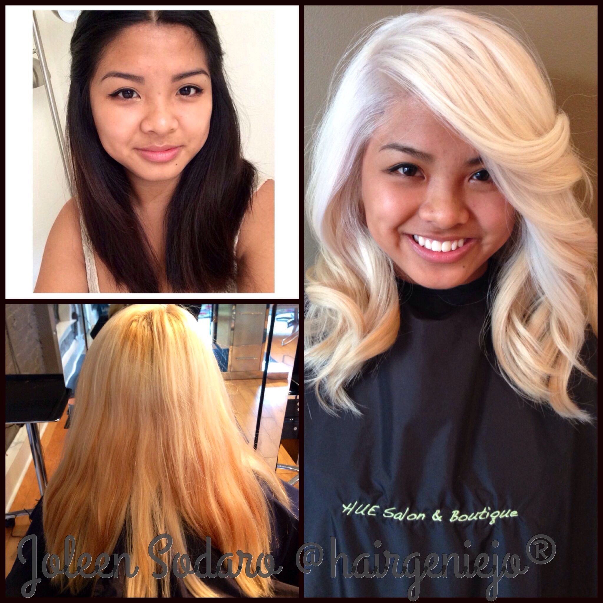 Before after color correction blonde platinum Asian hair longhair