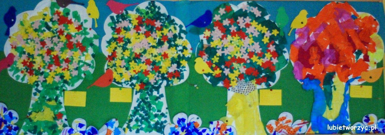 Wiosenne Drzewa Wykonane Przez Dzieci Dekoracja Przedszkolnej