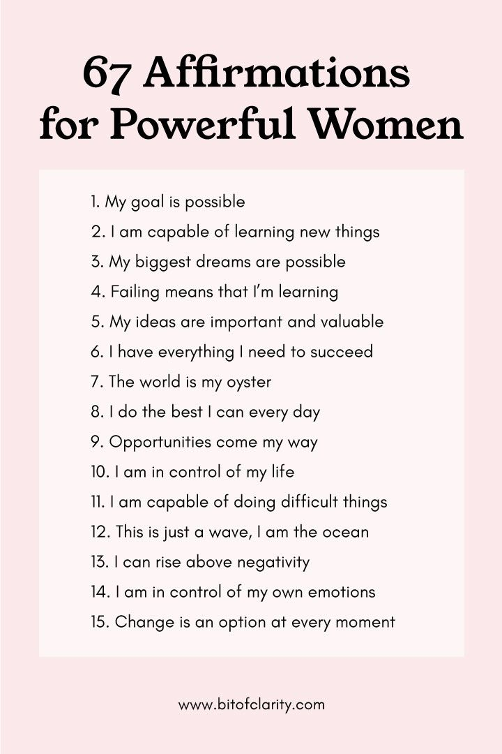 67 Inspiring and Motivational Affirmations for Powerful Women