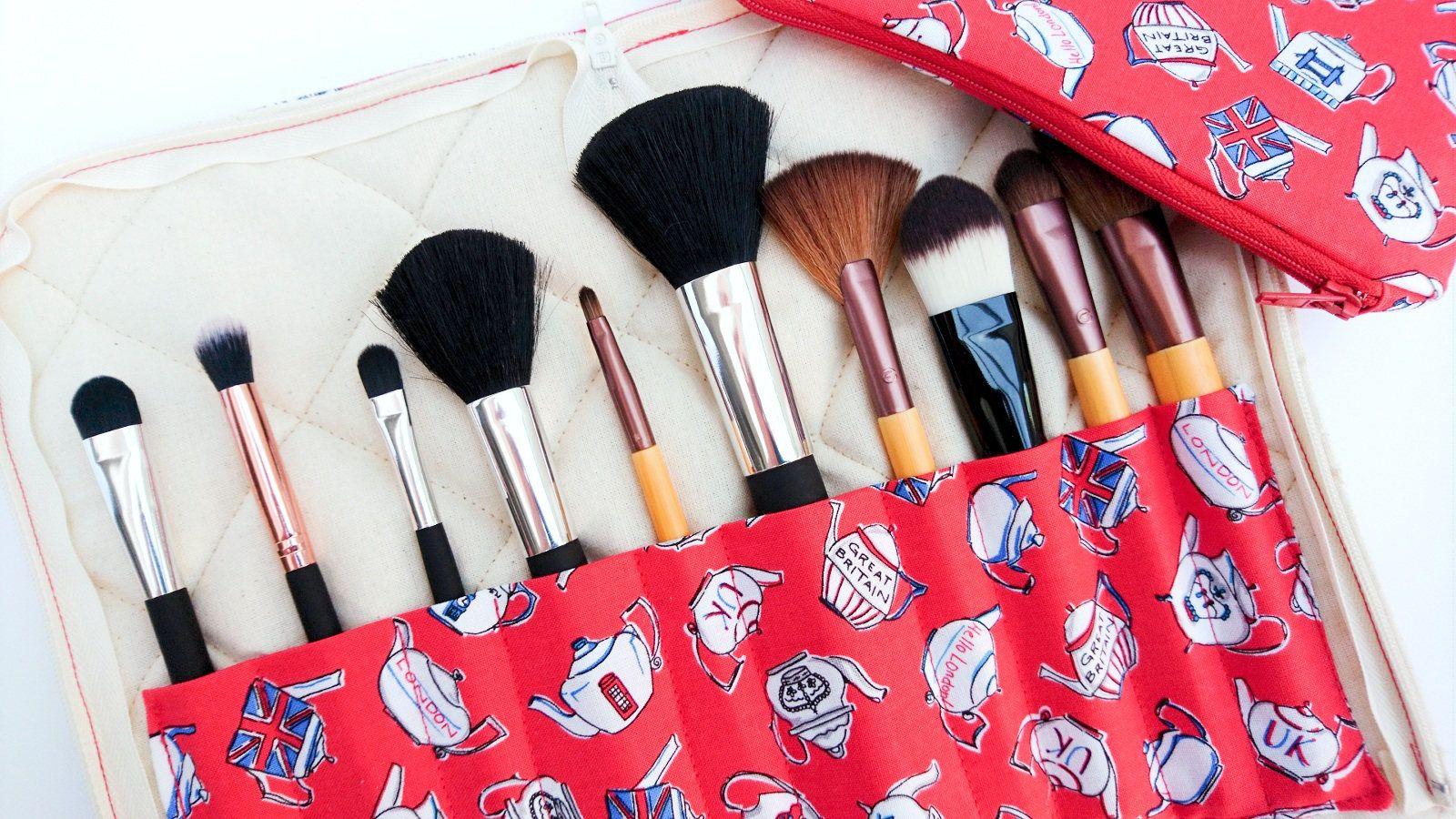 Makeup brush storage, brush organiser and bag, red brush