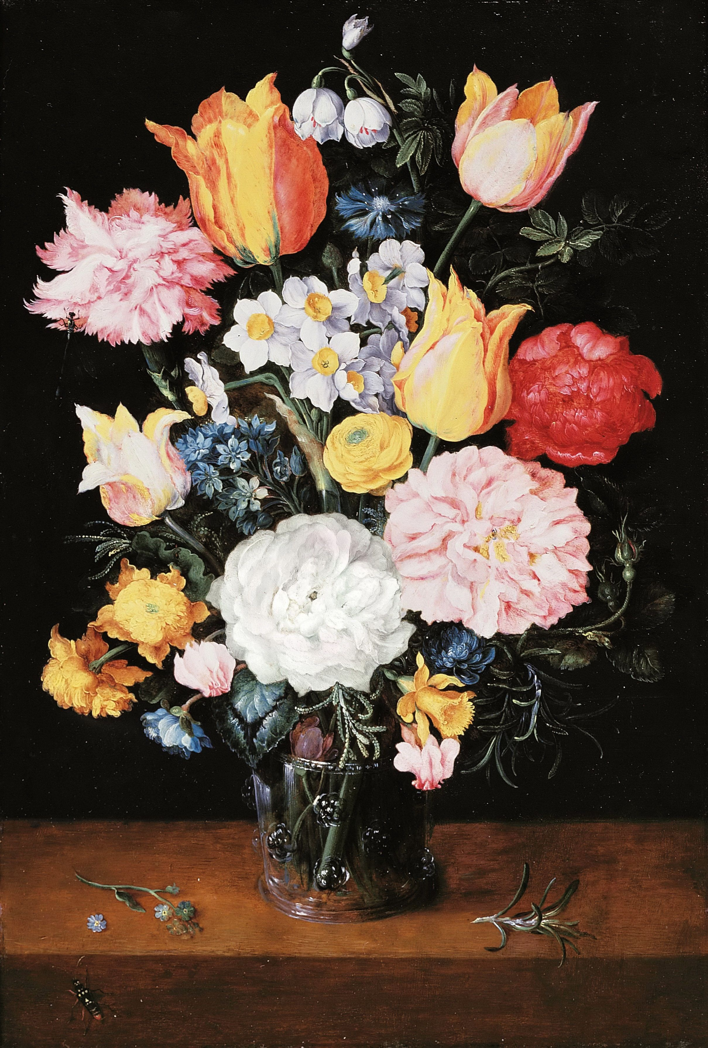 Bouquet Of Flowers In A Glass Vase Painting Jan Brueghel Ii The