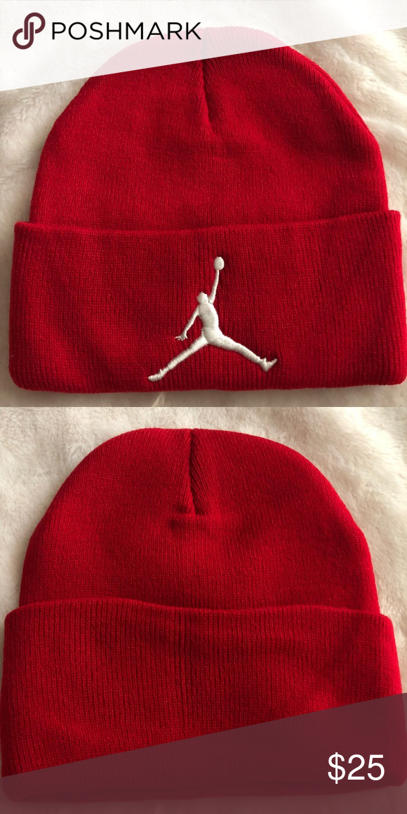 40bdcc6492e092 hat 🎩 knit hat with raised embroidered Micheal Jordan logo Unbranded New  No tag available Reasonable offers welcome Color: Red Logo Color: White ...