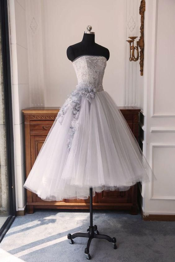 Charming Strapless Sleeveless A Line Prom Dresses Short Homecoming Dresses