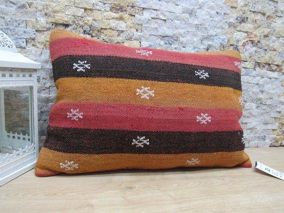Kelim kissen pillow 16x24 kilim bolster pillow rustic pillow boho decorative pillow turkey old pillow sofa cushion home pillow code 1856