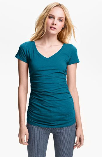 Shirred V Neck Tee Nordstrom Petite And Fashion
