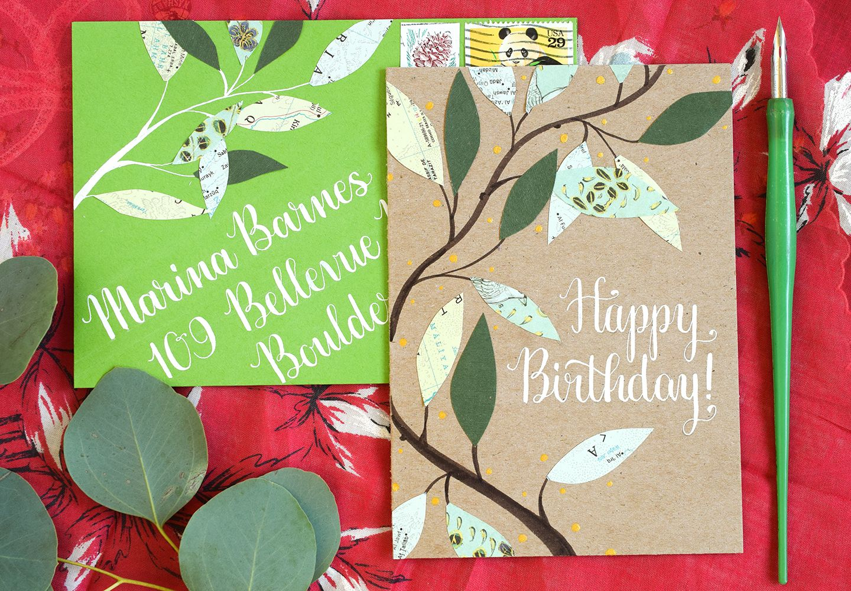 Watercolor Birthday Cards Tutorial ~ Leafy homemade birthday card tutorial homemade birthday cards