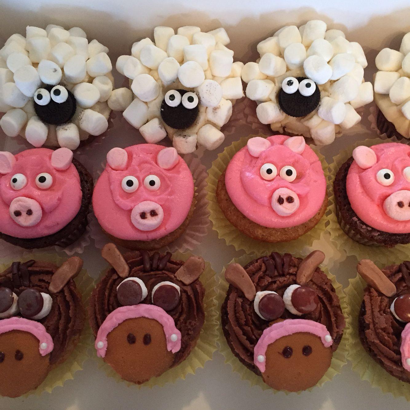 Old MacDonald cupcake Animal cupcakes Sheep, pig, horse :) #animalcupcakes
