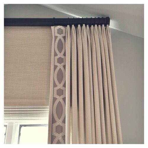 Decorative Trim On Lead Edge Of Pleated Curtain Panel