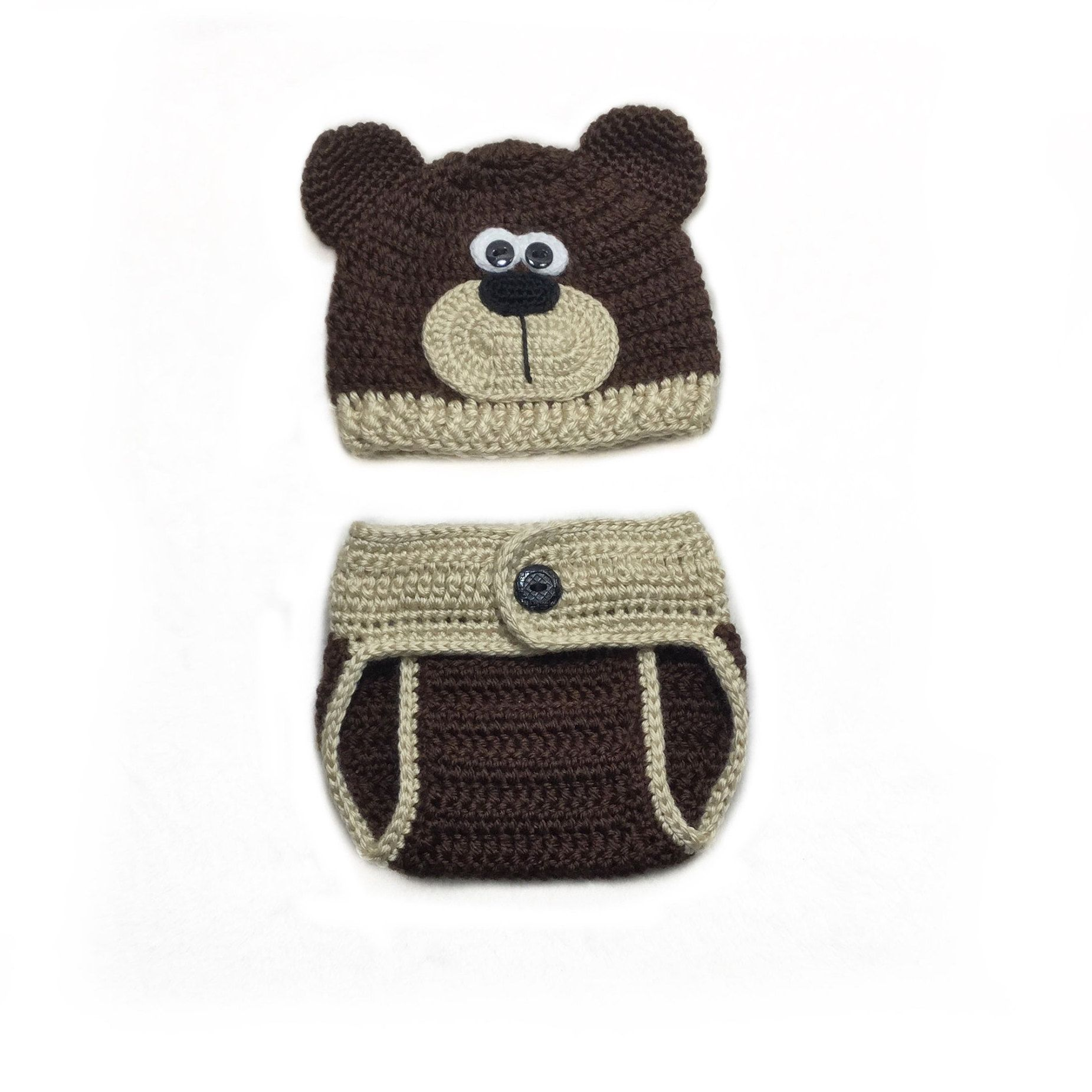 843838c92 Crochet bear hat teddy brown Baby outfit Teddy bear hat cover diaper ...