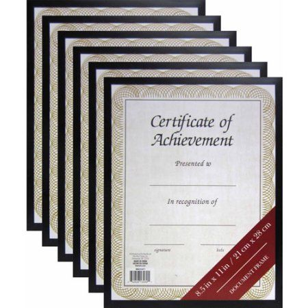 8.5 inch x 11 inch Black Document Frame, Set of 6 | Products