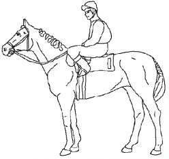 horse coloring page of race horse and jockey