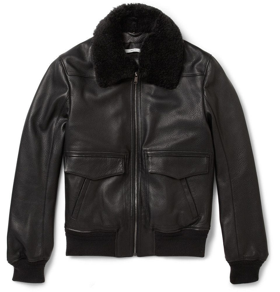 ce9dc3bc376 Yves Saint Laurent Shearling-Collar Leather Bomber Jacket | MR PORTER