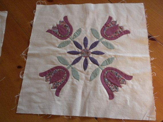 quilt blocks hand sewn appliques 3 pieces ivory purple by brixiana, $15.00