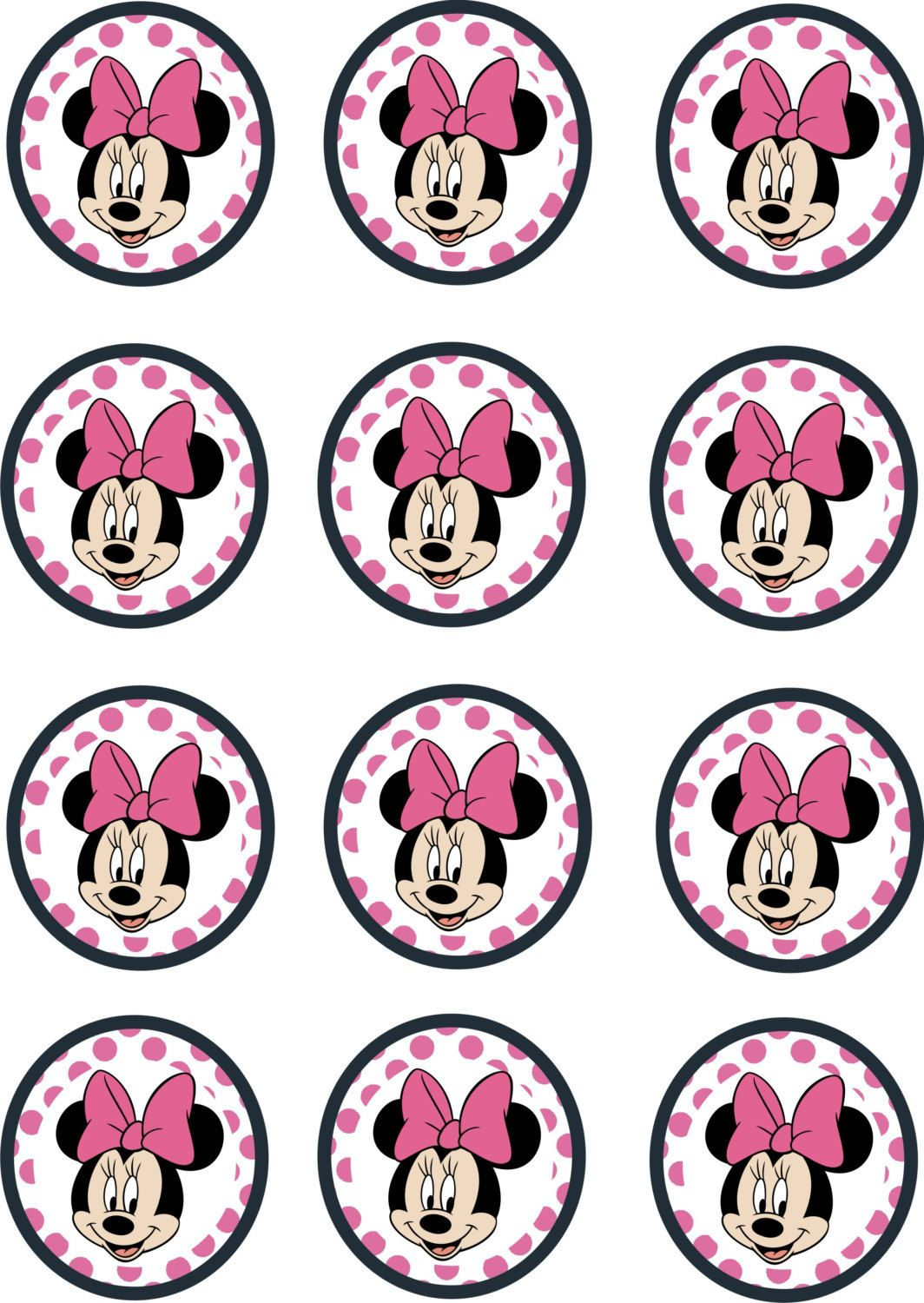 Instant Download Printable 12 X Minnie Mouse Pink Birthday Etsy Minnie Mouse Pink Minnie Mouse Birthday Party Minnie Mouse Birthday