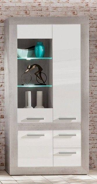 Credenza moderna Sienna,mobile soggiorno grigio e bianco in 2 ...