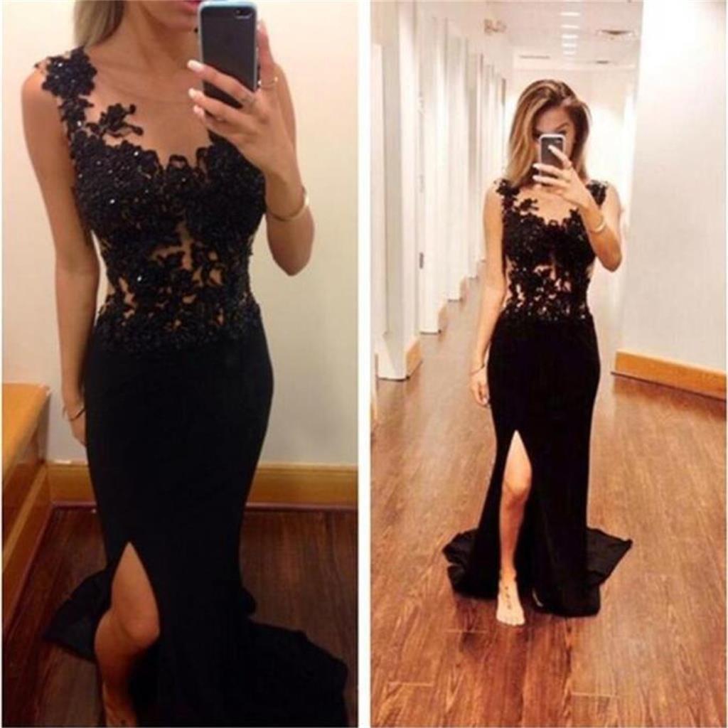 Black mermaid side split long sexy backless lace prom dresses
