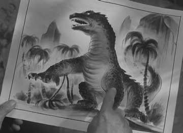 Concept art of THE BEAST FROM 20,000 FATHOMS used in the film. (1953)