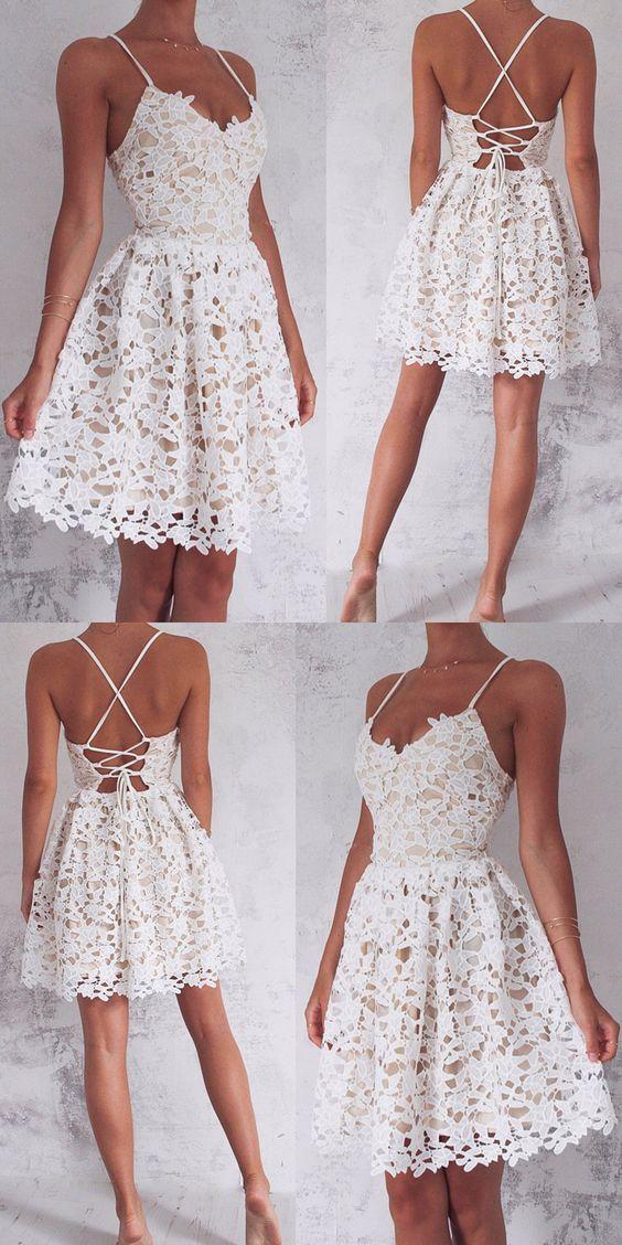 927f7e251b3 A-Line Spaghetti Straps Lace-Up White Lace Short Homecoming Dress ...